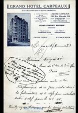 """PARIS (XVIII°) HOTEL """"GRAND HOTEL CARPEAUX / GILET & LOMBRAGE gérants"""" en 1933"""