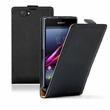 Ultra Slim BLACK Leather case cover for Sony Xperia Z1 Compact D5503 experia