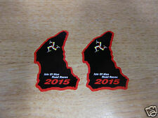 X2 Isle Of Man Tt Razas curso mapa sticker Negro/rojo 50mm Alta 2015