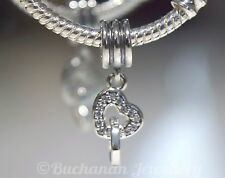 GENUINE PANDORA PAVE INTERLOCKING HEART PENDANT CHARM SILVER S925 ALE WITH POUCH