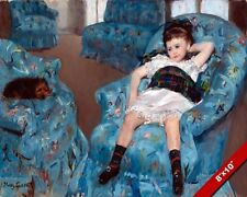 BORED YOUNG GIRL IN BLUE ARMCHAIR W PUPPY DOG PAINTING ART REAL CANVAS PRINT