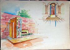 Acquerello '900 su carta Watercolor Architettura futurista cubista razionale-50