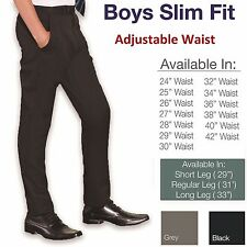 Slim Fit Boys School Trousers Smart Black Grey Navy Pants Skinny