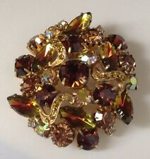 broche vintage couleur or ronde cristaux citrine boréalis brillance / 89
