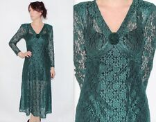 Vintage 90's Green FLORAL LACE SEE THROUGH Long Sleeves ROSE PRETTY MAXI Dress 8