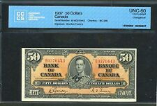 1937 $50 Bank of Canada CCCS Uncirculated UNC-60 Gordon-Towers BC-26b WK BV$1000