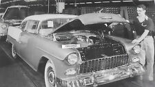 """1955 Chevy End of Assembly Line, 2-Door Hardtop 12X18"""" Black & White Picture"""