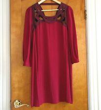 Diane von Furstenberg DVF Tunic Dress Maroon Beet Red 6 babydoll viscose rayon