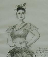 """Mid Century Pencil Drawing Titled """"Dancer"""" by Listed NY Artist Dorothy Varian"""