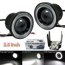 "2x 2.5"" Inch Car Projector LED Fog Light with COB Halo Angel Eye Ring Bulb Lamp"