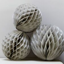 Grey Tissue Paper Honeycomb Balls- Wedding/Party Decorations - Pack of 3