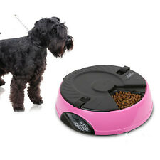6-Meal Automatic Pet Feeder Auto Dog Cat Food Bowl Dispenser Pink