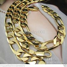 24K Yellow Gold Filled Huge Figaro Link Chain Curb Mens Necklace & Bracelet Set