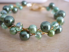 """Handmade Plaited Beaded 7"""" Green Bracelet with Faux Pearls and Glass Crystals"""