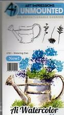 New ART IMPRESSIONS RUBBER STAMP Cling MINI watercolor set WATERING CAN flowers