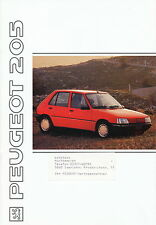 Peugeot 205 Prospekt 1991 brochure Auto PKWs Frankreich Autoprospekt Broschüre