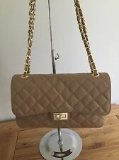Italian Taupe Leather Quilted Handbag/Twin Handles Great Length For The Shoulder