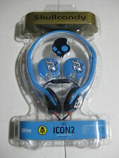 SkullCandy Icon 2 On-Ear Headphones Blue In-Line Mic iPod/iPhone Black White NEW