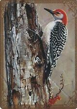 Modern-Wide-Linen-Birds-P2-Woodpecker On Tree-Swap Playing Card