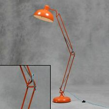 Large Desk Style Floor Lamp Orange With Blue Fabric Flex 190cm High