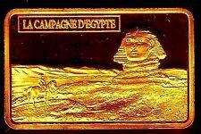 ★★ MAGNIFIQUE LINGOT PLAQUE OR ● NAPOLEON ● EN EGYPTE DEVANT LE SPHINX ★★