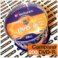 200 DVD -R VERBATIM vergini vuoti 16X Advanced Azo dvdr 4.7 GB ORIGINALI CAMPANA