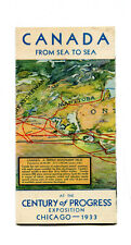 Vintage Century of Progress CANADA FROM SEA TO SEA Map Chicago Worlds Fair 1933