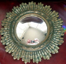 Vintage Mid Century Gold Sunburst Starburst Wood Mirror 10.5""