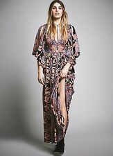 NWT Free People black pink blue Scarf Print Maxi Dress Split Bell Sleeve 10 $350