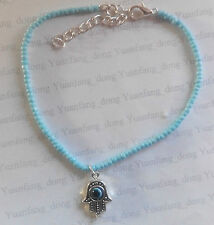 A Turquoise Blue Seed Beads Hamsa Hand Fatima Charm Ankle Bracelet Anklet Beach