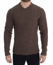NWT $640 DOLCE & GABBANA Brown Knitted Wool Crewneck Sweater Pullover IT48 / M