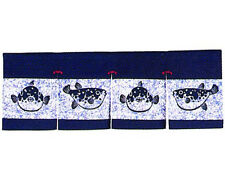 Noren Curtain Tapestry 4-Panel Sushi Bar Lucky FUGU Fish 12 x 33.5 Made in Japan