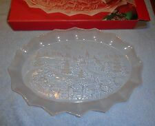 "Mikasa Silent Night 17"" Oval Canape- SA 958/349- Glass Christmas Platter in Box"