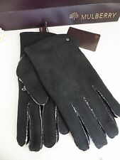 BNWT Authentic MULBERRY Mens Black Sheepskin Driving Gloves M