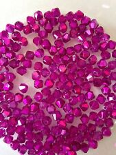 100 Austrian Crystal Glass Beads -Half Metallic Bright Pink  4mm