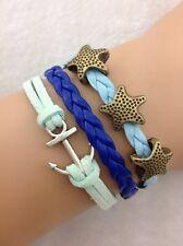 Bracelet bleu turquoise étoiles des mers et ancre de bateau. Top tendance 2014