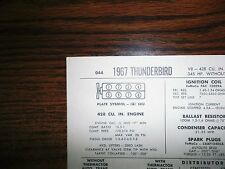 1967 Ford Thunderbird Series 428 CI V8 4BBL SUN Tune Up Chart Great Condition!