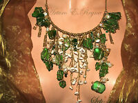 ARTISAN HANDCRAFTED Natural Pearls + Beach Sea Glass Sea Shells Bib/Necklace SET