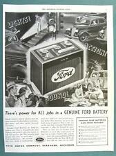 Dated on RevEERSE Original 1936 Ford Type 40 Battery Ad LIGHTS! ACTION! SOUND!