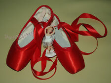 ballet professional satin pointe ribbon ties shoes RED