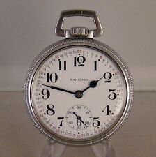 HAMILTON 992B 21j OPEN FACE U.S.GOVT. RAILROAD 16s POCKET WATCH YEAR 1942(WWII)