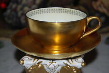 WONDERFUL OLD GOLD PAINTED ART DECO STYLE HP TRIM COFFEE / TEA CUP AND SAUCER #1