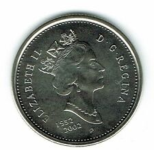 2002-P Canadian Brilliant Uncirculated Jubilee Twenty Five Cent coin!