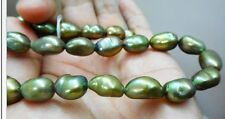 """HUGE 18""""10.5x14MM NATURAL SOUTH SEA GENUIN GREEN BAROQUE PEARL NECKLACE"""