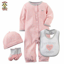 Carter's 4 pc Set w/ Sleep & Play, Bibs, Socks & Cap, 3 months