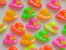 100! CUTE FLATBACK RESIN HAT EMBELLISHMENTS - NEON SUMMER BONNET MIX - 14MM/0.6""