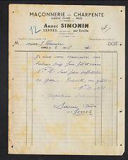"""SERRES prés de EINVILLE (54) MACONNERIE & CHARPENTE """"André SIMONIN"""" en 1950"""