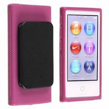 Pink TPU Rubber Case Cover with Belt Clip for Apple iPod Nano 7th Gen 7 7G NEW