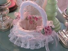 CoLLecTiBLe HoMe DeCorVINTAGE LINEN AND CHENILLE FULLY LINED  BaSKeT