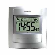 Precision Radio Controlled Wall & Desk Clock Silver Digital Auto Light PREC0055